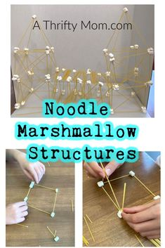 This is a fun easy activity that fun for science or art! Make Marshmallow Noodle Structures with the kids to build bridges, make DNA examples, or fun art sculptures. Educational Activities For Kids, Summer Activities For Kids, Stem Activities, Summer Kids, Kids Learning, Q Tip Painting, Art For Kids, Crafts For Kids, Recipe For Mom
