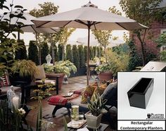 Rooftop inspiration go. Box planters in back and huge terra cottas up front.