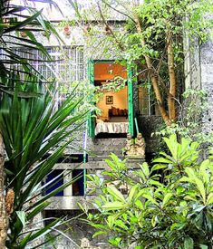 View of Frida's bedroom from courtyard of Casa Azul
