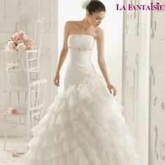 Shop this cutting edge BallGown Strapless Tulle Chapel Train White Tiered Wedding Dress by Wedding Dresses Collection that inspired by most covetable trends in Australia. Layered Wedding Dresses, Wedding Dress 2013, Country Wedding Dresses, Wedding Dresses For Sale, Cheap Wedding Dress, Tulle Wedding, Weeding Dress, Bridal Dresses Online, Bridal Gowns