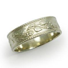 Roses Wedding Band 14k White Gold Fl Flower Ring Feminine Gr 9127 664