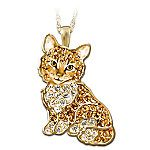 Purr-fect Kitten Crystal Pendant Necklace