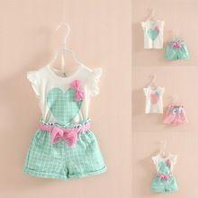 Bebê Meninas Crianças Sem Mangas Arco Coração Encabeça a Camisa de T + Xadrez Calças Curtas Outfits 2-7A(China (Mainland))