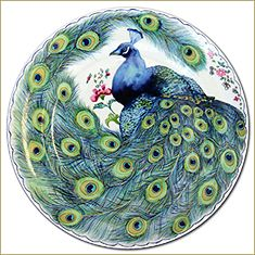 Mottahedeh Peacock Feather Dessert Plates (Set of 4)