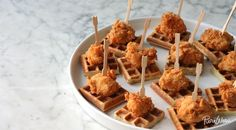 We pair crispy, well-seasoned pieces of fried chicken with our recipe for slightly sweet homemade waffles.