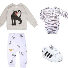 Time for some more inspiration! We love to mix the #white #nOeser #cheetah #zebra #baggypant with the #tiger #roaarr #minirodini #sweater and off course nOeser #black #grey #white #camouflage #kimono #romper and #adidas #sneakers YEAH #loveit #cool #baby #babywear #babyoutfit #toddler #instakids #instafashion #coolkidsonly #fashionmom #fashionblog #kidsstylist