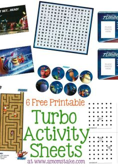 Free Printable Turbo Movie Activity Sheets #Kids #Printable