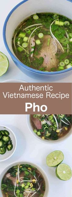 Phở is an incredibly fragrant traditional Vietnamese rice noodle soup consisting of herbs, broth and beef or chicken. Ingredients 1 lb short ribs with. Vietnamese Pho Soup Recipe, Vietnamese Cuisine, Vietnamese Rice, Vietnamese Chicken Soup, Asian Recipes, Beef Recipes, Cooking Recipes, Healthy Recipes, Ethnic Recipes