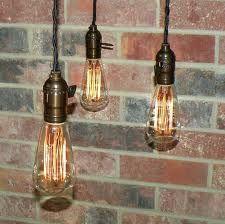 Vintage bulbs, brick texture background