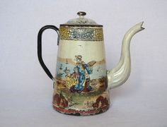 VERY RARE ANTIQUE FRENCH ENAMELWARE COFFEE POT from the 1870s-1880s