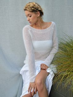 Mohair's making a big comeback - love this light sweater in kidsilk from rowan
