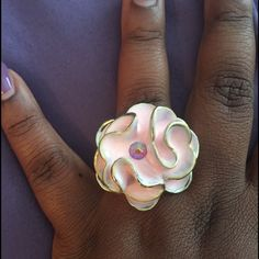 Flower ring  Pink and silver flower ring sz 8 Jewelry Rings