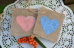 5 x Custom Heart Burlap Hessian Tag Wedding Home Decoration
