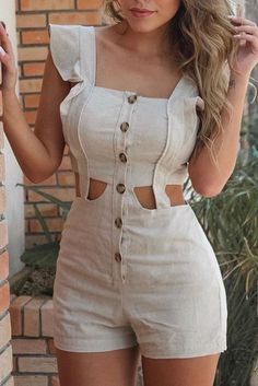 2019 Cutout Buttoned Ruffles Rompers Women Sexy Square Collar Hollow Out Playsuit Casual Short Sleeve Summer Solid Jumpsuits Rompers Women, Jumpsuits For Women, Fashion Jumpsuits, Short Playsuit, Ruffle Romper, Short Outfits, Ruffles, Ideias Fashion, Sexy Women