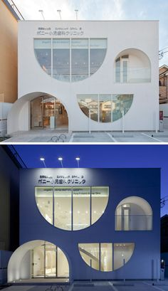 The windows of this white dental office building are playful, with the curved shapes continuing on through to the inside of the clinic. Facade Design, Exterior Design, House Design, Chinese Architecture, Futuristic Architecture, Architecture Office, Modern Buildings, Office Buildings, Modern Houses