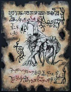 DEMON HYBRID Cthulhu Necronomicon Fragment occult lowbrow outsider dark art magick