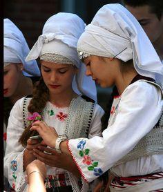 Serbia - Serbian Christian orthodox women in ethnic clothing