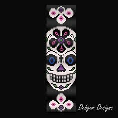 Sugar Skull 4-Loom Bracelet Cuff