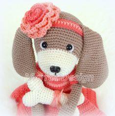 Garen- en Fourniturenpakket Hondje Lily Patroon apart bestellen! Hello Kitty, Crochet Hats, Teddy Bear, Toys, Animals, Character, Design, Art, Amigurumi