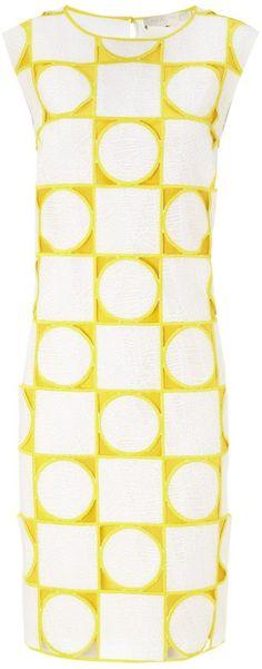 Mantu Yellow Geometric Jacquard Dress