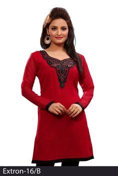 Red 60 grams Chiffon Georgette Embroidered Kurti - Chiffon Kurtis / Tunics Manufacturer & Exporter | Kurtisindia