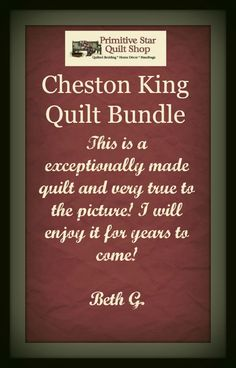 Our Cheston King Quilt Bundle will make for a cozy retreat and Beth was pleased with the quality! Get your bundle today at https://www.primitivestarquiltshop.com/products/cheston-king-quilt-bundle-quilt-skirt-and-2-luxury-shams #primitivecountrybedroomsbeddingandaccessories