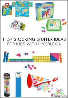 Christmas stocking stuffer ideas for kids with hyperlexia - alphabet, numbers, geography, space, & periodic table gift ideas from And Next Comes L Sensory Toys For Autism, Autism Activities, Autism Resources, Sensory Activities, Activities For Kids, Teaching Resources, Stocking Stuffers For Kids, Christmas Stocking Stuffers, Christmas Stockings