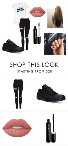 """Outfit 58"" by lizzie-adams-3 ❤ liked on Polyvore featuring Topshop, Converse, Lime Crime and Marc Jacobs"