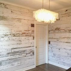 Wood Pallets Ideas Here's a look at a recent white wall we created using our reclaimed white barn wood skins. White barn wood walls look soooo good! Look Wallpaper, Bedroom Wallpaper, Wallpaper Ideas, Wallpaper Accent Walls, Trendy Wallpaper, White Barn, Ship Lap Walls, My New Room, White Walls