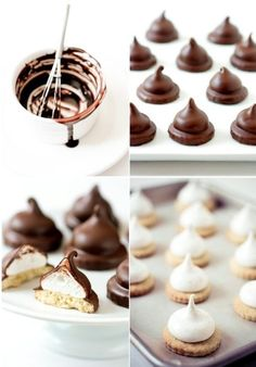 Chocolate Covered Marshmallow Cookies - looks like a lot of work but really delicious! Mini Desserts, Cookie Desserts, Just Desserts, Cookie Recipes, Delicious Desserts, Dessert Recipes, Yummy Food, Chocolate Covered Marshmallows, Homemade Marshmallows