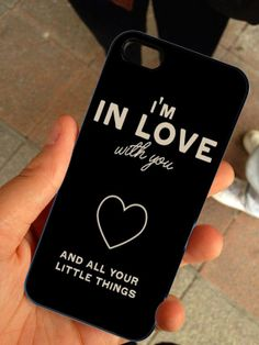 One Direction Im in Love With You Quotes - Hard Case Print - iPhone 4 / 4s or iPhone 5 Case - Black or White Case
