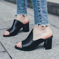 bde58d1a2 Handmade women slipper square high heels house sandals shoes cuir veritable  talon 2017 summer black open