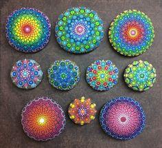 10 custom ordered hand painted Mandala Stones by artist Kimberly Vallee. :-)