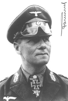 Erwin Johannes Eugen Rommel (15 Nov 1891 – 14 Oct 1944) was a German field marshal in WWII. His leadership of German & Italian forces in the North African campaign established him as one of the most able commanders of the war, earning him the title 'Desert Fox' and the Knight's Cross of the Iron Cross with Oak Leaves, Swords, and Diamonds, Knight's Cross of the Iron Cross with Oak Leaves, Swords, and Diamonds. He is also wearing the Pour le Mérite he won during World War I.