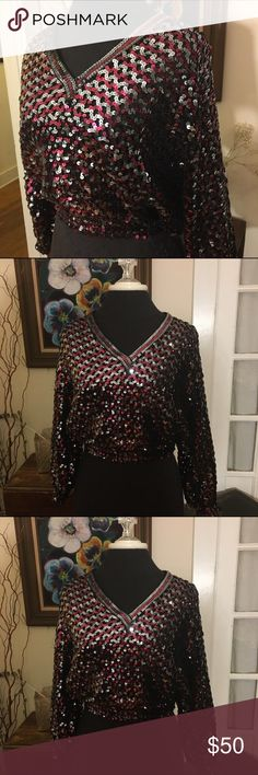 """Harry Acton Party Collectibles vintage sequin top Harry Acton for Party Collectibles vintage sequin long sleeve crop top size medium  🍥Bundle deals available (I carry various sizes and brands in my closet): 2 items 10% off, 3 items 15% off, 4 items or more 20% off.  🍥No trades, modeling, or lowball offers please. 🍥All reasonable offers accepted only through """"offer"""" button. Please submit offer willing to pay as I prefer to not counteroffer. 🍥I appreciate you all. Happy Poshing! harry…"""