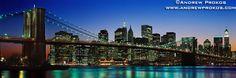 Panorama of the Brooklyn Bridge and Lower Manhattan at Twilight - http://andrewprokos.com