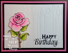 Mark's Finest Papers, birthday, embossing folder, rose, flowers, copics