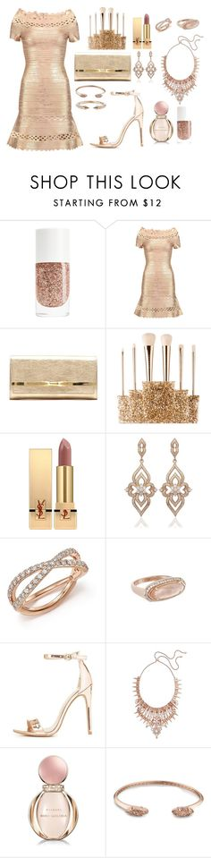 """""""Rose gold dust"""" by mehrak ❤ liked on Polyvore featuring Hervé Léger, Jimmy Choo, Sephora Collection, Yves Saint Laurent, La Preciosa, Bloomingdale's, Kendra Scott, Charlotte Russe, Bulgari and Vita Fede"""