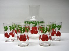 Vintage 1960s Libby Glass Juice Set Glasses Pitcher Carafe Christmas Colors Red Tomatoe Green Leaves