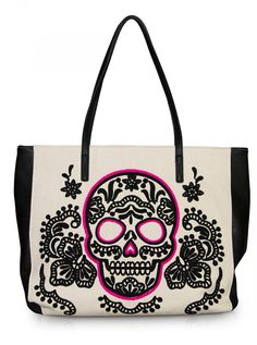 """Sugar Skull"" Tote Handbag by Loungefly (Pink/Black) Too bad it's 70.00, little much for a tote"