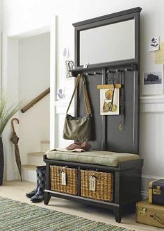 Make your entryway, mudroom or foyer feel as fashionable as you do. Crate and Barrel has beautifully durable entryway benches you'll enjoy using every day. Black Storage Bench, Entryway Bench Storage, Black Bench, Entry Bench, Entryway Organization, Entrance Hall, Furniture Making, Diy Furniture, Hallway Furniture