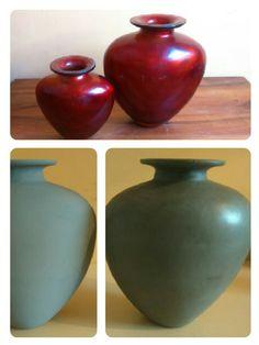 Mijn rode vaas een metamorfose gegeven met Duck egg green en dark wax, Annie Sloan