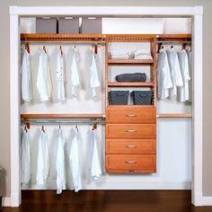 John Louis Home Woodcrest Premier Closet System Finish: Carmel Wood Closet Organizers, Linen Closet Organization, Closet Storage, Drawer Storage, Organization Ideas, Organizing, Stackable Shelves, Adjustable Shelving, Modern Drawers