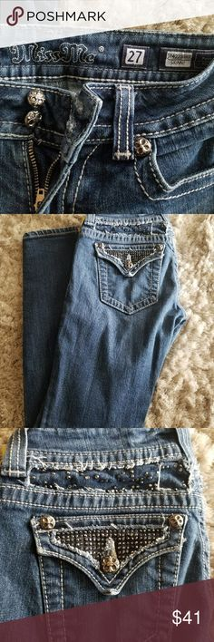 Miss me size 27, 5 pocket  jeans Cute jeans in great shape! Distressed look around the waist and pocket area. No rips, tears or stains. Back pockets button closed. Miss Me Jeans Skinny