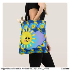 Shop Happy Sunshine Smile Motivation Cute Sky Clouds Tote Bag created by ONME_Prints. Shopping Bag Design, Shopping Bags, Happy Sunshine, Happy Design, Cloudy Day, Sky And Clouds, My Mood, Make You Smile, Reusable Tote Bags