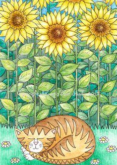 Time for a little happy cat nap....  Cat Art  Print  Kitten Pet Reproduction  by AtlanticBlueStudio, €10.00