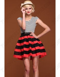 Bicolor red and black scoop neckline sleeveless shift dress with stripes