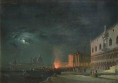 Ippolito Caffi (Belluno 1809 - 1866) Festa notturna a Venezia (firmato, 1854) olio su tela, (cm. 68,5 x 96)
