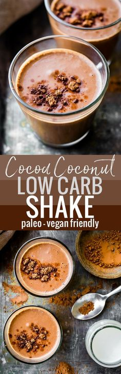 This low carb shake recipe full of healthy coconut cream and unsweetened chocolate cocoa will fuel your body for the day! The health benefits of this delicious vegan friendly paleo shake recipe will keep you energized and nourished. This low carb shake Low Carb Drinks, Low Carb Smoothies, Low Carb Desserts, Healthy Drinks, Vegan Smoothies, Healthy Eating, Low Carb Shakes, Keto Shakes, Healthy Shakes