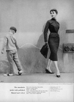 The mandarin jacket suit - Charm Magazine August 1954  (model Patsy Shally, photo by William Helburn).